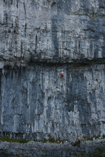 Climbers on Malham cove